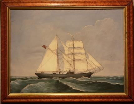 Depicting a British brigantine in full sail