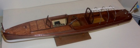 Late 20th century built mahogany model depicting a C.G. Pettersson-racer from 1917. With a 60 hp Buffalo engine.