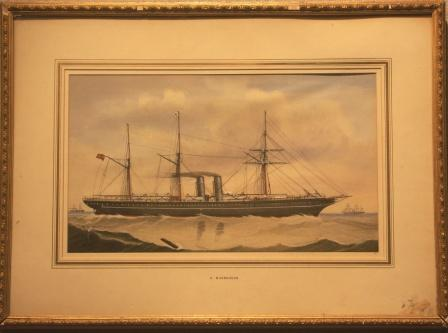 Depicting a British Mail-steamer
