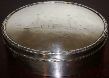 Early 20th century silver case in memory of the launch of the cable-steamer S/S Cambria on November 22nd 1904 from Neptune Works, Newcastle-on-Tyne presented by Mrs F.R. Lucas.