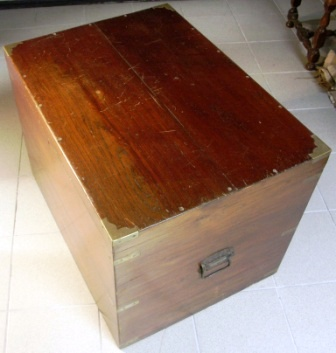 19th century travellers trunk in camphor wood, fitted with brass inlays. Interior metal sheet bound.