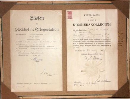 Swedish Navy badges for sub-lieutenants and crew members dated 1914-1951. Incl certificates/documents on the reverse.
