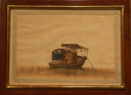 Chinese artwork painted on rice paper. Depicting a Chinese sampan.