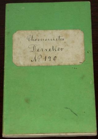 Chronometer Journal, F. Dencker Hamburg
