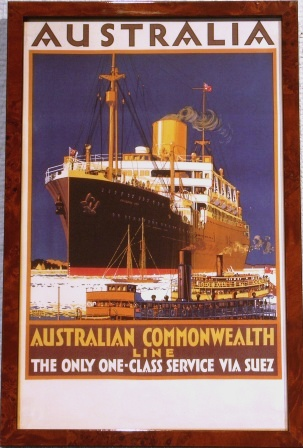 "Australia Commonwealth Line ""The only one-class service via Suez"""
