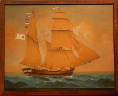 "The sailing vessel ""Condor"" in full sail, flying the Hamburg flag. With the inscription ""Das Schiff Condor Captain C.J.H. Fedeler 1830"