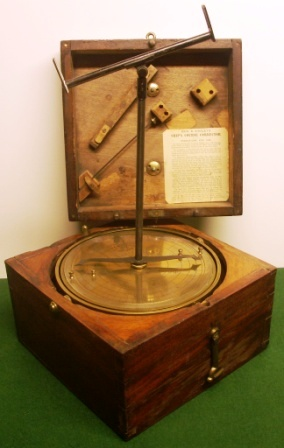 Late 19th century Bain & Ainsley's ship's course corrector made in brass. No 791. Patent No 329. In original mahogany case, mounted in gimbals.