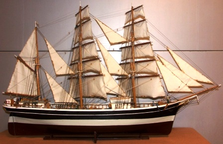 Early 20th century built model. Depicting the three-masted barque DELFIN of Stockholm