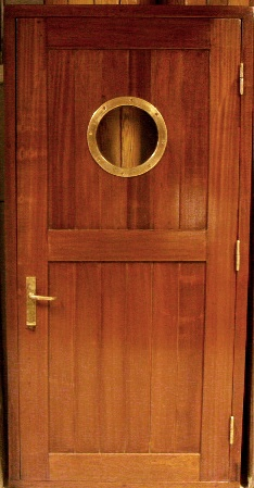 20th century mahogany ships door with brass fittings