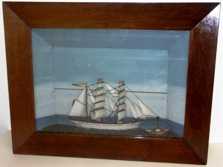 Early 20th century sailor-made diorama depicting the German three-masted barque DORA and the lightship BÜLK.