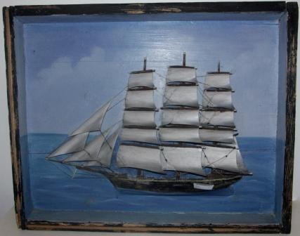 Early 20th century sailor-made diorama depicting the full-rigged Swedish ship IRIS. Signed R. Sandgren 15/4 1903.