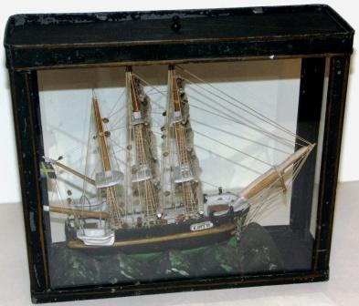 Late 19th century sailor-made model depicting the three-masted barque Edith flying the Swedish-Norwegian Union flag.