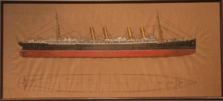 Depicting the German passenger liner S.S. DEUTSCHLAND Hapag 1945