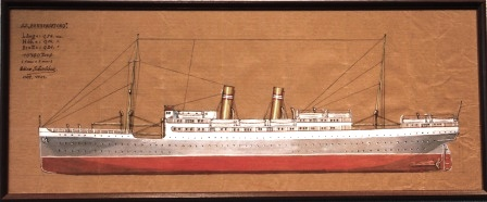 Depicting the Norwegian passenger liner S.S. BERGENSFJORD