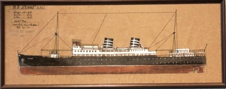 Depicting the Norwegian passenger vessel M.S. VENUS (B.D.S.)