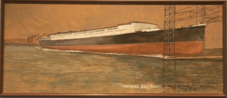 """Moderner Schiffbau"" (Modern shipbuilding). Depicting the launch of German passenger liner S.S. BREMEN on August 16, 1928."