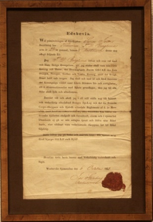Mid 19th century employment agreement between the sea captain Swen Jern and the carpenter P.D. Berglund. Signed Westerviks Seamans House October 6, 1848.