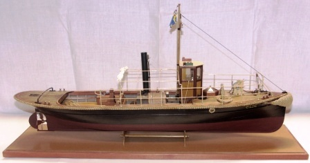 20th century built model depicting the steam-powered tug ELDE, flying the Swedish-Norwegian Union Flag. Complete with individually built and functional steam engine.