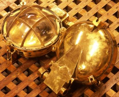 20th century electrified bulkhead lamps in brass