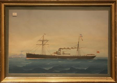 Depicting the British steamer S.S. ESHCOL of North Shields passing Neaples