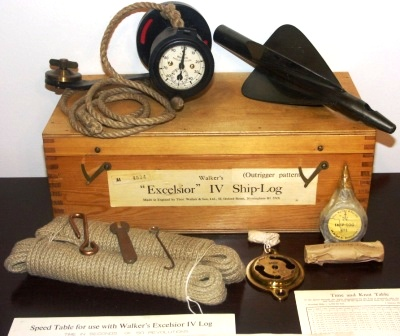 20th century Walkers Excelsior IV ship-log (Outrigger pattern). In unused condition. Incl speed-table, time & knot table, table of nautical and statue miles and graph of recommended length of line.