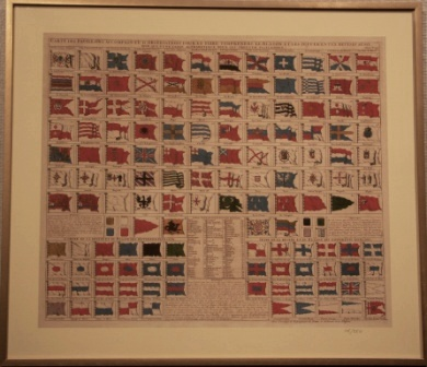 Depicting 18th century flags. Based on a Dutch 18th century copperplate engraving. Description on the reverse.