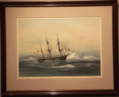 The Danish whaling barque FLORA in heavy arctic sea