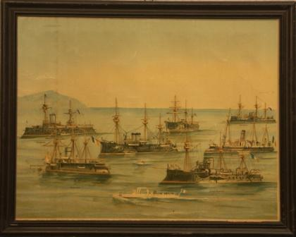 The French Navy; incl the armoured vessels FORMIDABLE, TRIDENT, DÉVASTATION, COURBET, REDOUTABLE, AMIRAL DUPERRÉ, VÁUTOUR and TORPILLEUR.