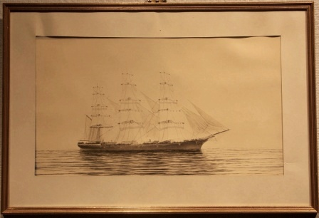 Depicting a three-masted barque in calm water