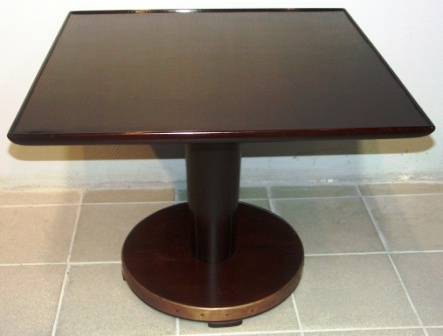 "Rectangular coffee table in mahogany from M/S Hohenfels ""Hansa"" Bremen. Base mantled with brass."