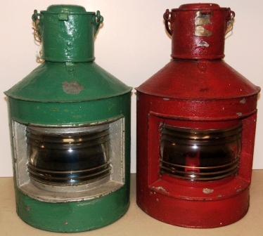 "Pair of early 20th century galvanized and electrified navigation lanterns. Port and starboard, made by J. C. Larsén, Österlånggatan 43 Stockholm. Marked ""St 2115."""
