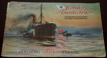 Richly illustrated Svenska Amerika Linien publication with interiors from the S/S Stockholm travelling between Gothenburg and New York. Published in Gothenburg 1916, 31 pages.