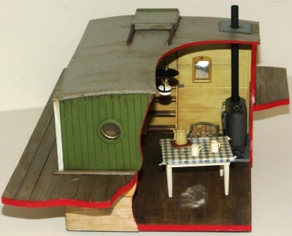 20th century sailor-made model depicting the deckhouse of the Swedish cargo vessel GERDA.