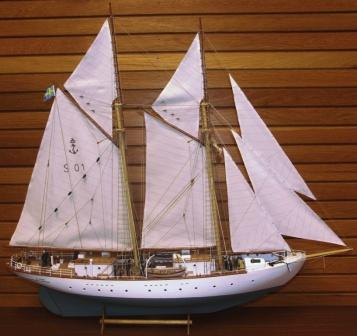 20th century built model incl crew. Depicting the Swedish Navy sail-training schooner HMS GLADAN, built in 1947.