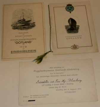 Flygplankryssaren GOTLANDS sjösättning. Invitation cards and festivity program for the launch of the Swedish aircraft carrier GOTLAND on September 14, 1933.