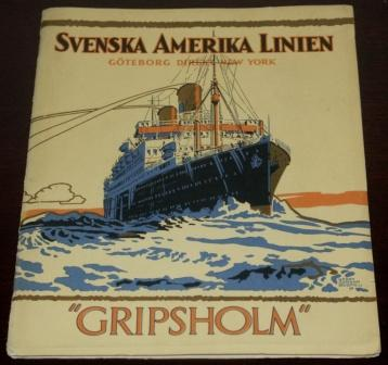 Richly illustrated Svenska Amerika Linien publication with interiors from the M/S Gripsholm travelling between Gothenburg and New York. Published in Gothenburg 1925, 36 pages.