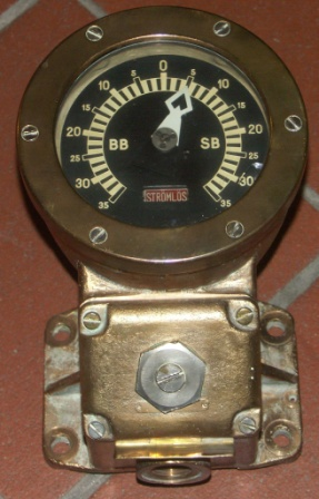 20th century helm-indicator from the Swedish destroyer H.M.S. HALLAND. Made of brass.
