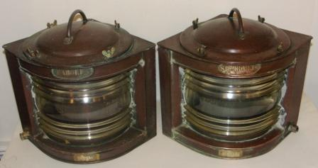 Pair of electrified 20th century Swedish Navy copper navigation lanterns, made by Erik Ohlsson, Hälsingborg. Crown-marked Km 29192 & Km 29193, port and starboard.
