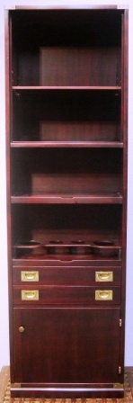 High cabinet in mahogany and brass from the Italian liner M/N G. Verdi. Incl decanter set, 2 drawers, 1 door, shelves.