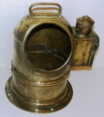 Early 20th century brass binnacle hood with detachable top. Kerosene illumination.