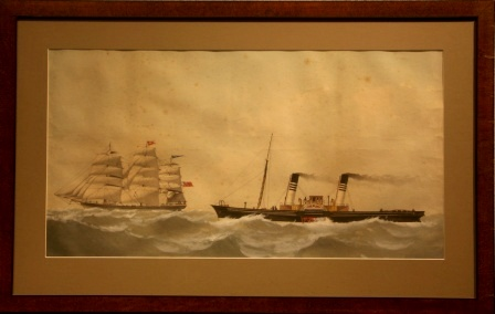 "The paddle steamer ""Hotspur"" racing White Star Lines fullrigged ship Dawpool"