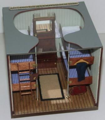 20th century sailor-made model depicting a 1935 Swedish American Line M/S GRIPSHOLM third class cabin.