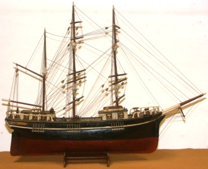 Early 20th century sailor-made model depicting the Swedish three-masted barque INGEBORG.