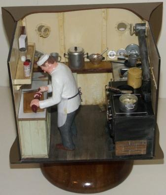20th century sailor-made model depicting the chef working in the galley.