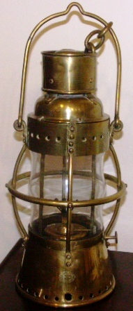 Early 20th century kerosene lamp in brass, made by Karlskrona Lampfabrik, Sweden.