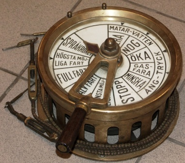 Early 20th century brass engine room telegraph from a Swedish steam vessel.