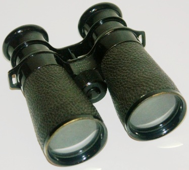 "20th century Busch binocular ""Camponett"" 4x40. Made of black laquered brass, leather-bound."