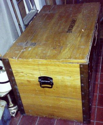 Early 20th century Swedish diving equipment chest.
