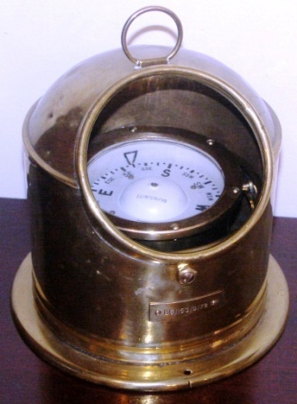 Mid 20th century British brass binnacle made by Sestrel. #B6/153/B/72. With compass mounted in gimbal.