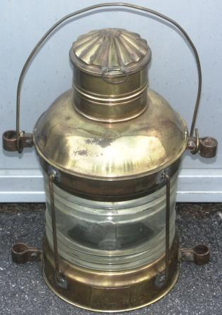 20th century electrified brass anchor light. Made by T. Debarbieri, Genova/244. Marked GE 10958.